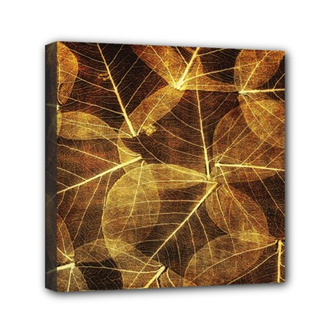 Leaves Autumn Texture Brown Mini Canvas 6  X 6