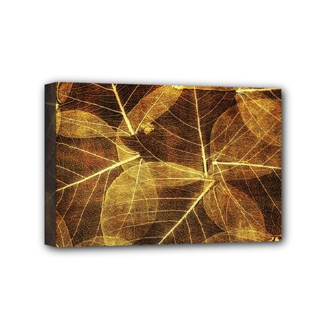 Leaves Autumn Texture Brown Mini Canvas 6  x 4