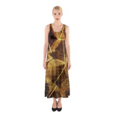 Leaves Autumn Texture Brown Sleeveless Maxi Dress