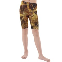 Leaves Autumn Texture Brown Kids  Mid Length Swim Shorts