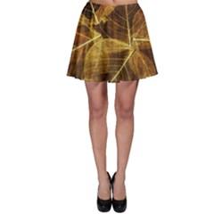 Leaves Autumn Texture Brown Skater Skirt