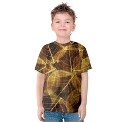 Leaves Autumn Texture Brown Kids  Cotton Tee