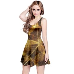 Leaves Autumn Texture Brown Reversible Sleeveless Dress