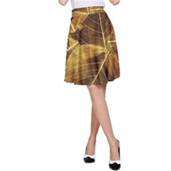 Leaves Autumn Texture Brown A Line Skirt