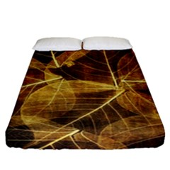 Leaves Autumn Texture Brown Fitted Sheet (queen Size)
