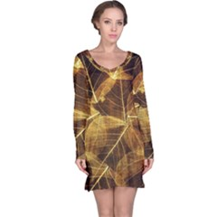 Leaves Autumn Texture Brown Long Sleeve Nightdress