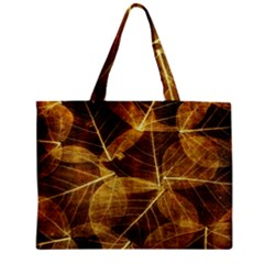 Leaves Autumn Texture Brown Zipper Mini Tote Bag