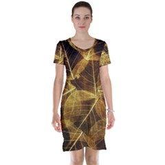 Leaves Autumn Texture Brown Short Sleeve Nightdress