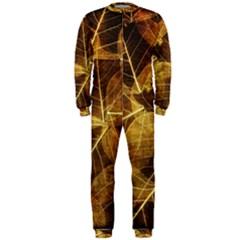 Leaves Autumn Texture Brown Onepiece Jumpsuit (men)