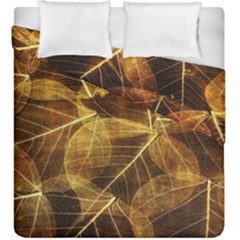 Leaves Autumn Texture Brown Duvet Cover Double Side (king Size)