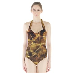 Leaves Autumn Texture Brown Halter Swimsuit