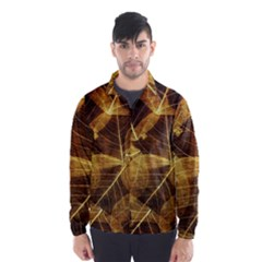 Leaves Autumn Texture Brown Wind Breaker (men)