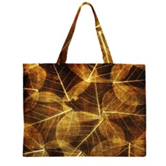 Leaves Autumn Texture Brown Large Tote Bag