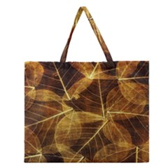 Leaves Autumn Texture Brown Zipper Large Tote Bag