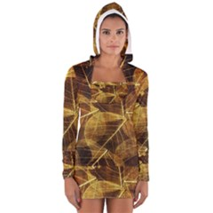 Leaves Autumn Texture Brown Women s Long Sleeve Hooded T Shirt