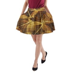 Leaves Autumn Texture Brown A Line Pocket Skirt