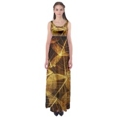 Leaves Autumn Texture Brown Empire Waist Maxi Dress