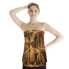 Leaves Autumn Texture Brown Strapless Top