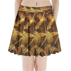Leaves Autumn Texture Brown Pleated Mini Skirt