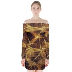 Leaves Autumn Texture Brown Long Sleeve Off Shoulder Dress