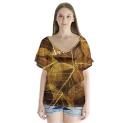 Leaves Autumn Texture Brown Flutter Sleeve Top
