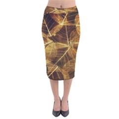 Leaves Autumn Texture Brown Velvet Midi Pencil Skirt