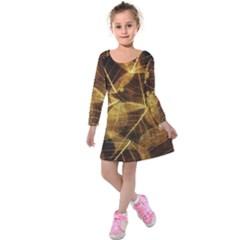 Leaves Autumn Texture Brown Kids  Long Sleeve Velvet Dress