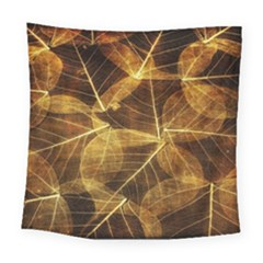 Leaves Autumn Texture Brown Square Tapestry (large)