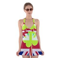 Irish British Shamrock United Kingdom Ireland Funny St. Patrick Flag Halter Swimsuit Dress