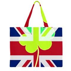 Irish British Shamrock United Kingdom Ireland Funny St. Patrick Flag Large Tote Bag
