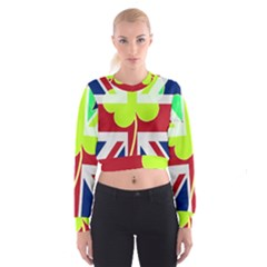 Irish British Shamrock United Kingdom Ireland Funny St. Patrick Flag Women s Cropped Sweatshirt