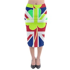Irish British Shamrock United Kingdom Ireland Funny St  Patrick Flag Midi Pencil Skirt