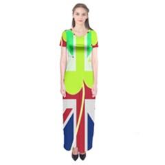 Irish British Shamrock United Kingdom Ireland Funny St  Patrick Flag Short Sleeve Maxi Dress