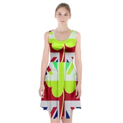 Irish British Shamrock United Kingdom Ireland Funny St. Patrick Flag Racerback Midi Dress