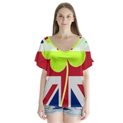 Irish British Shamrock United Kingdom Ireland Funny St. Patrick Flag Flutter Sleeve Top