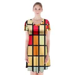 Mozaico Colors Glass Church Color Short Sleeve V Neck Flare Dress