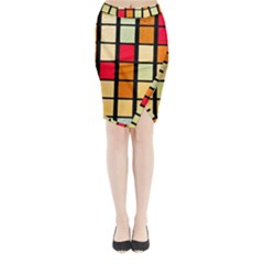 Mozaico Colors Glass Church Color Midi Wrap Pencil Skirt