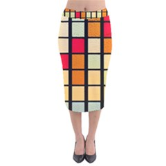 Mozaico Colors Glass Church Color Velvet Midi Pencil Skirt