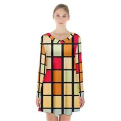 Mozaico Colors Glass Church Color Long Sleeve Velvet V Neck Dress