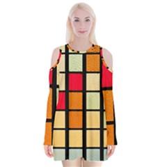 Mozaico Colors Glass Church Color Velvet Long Sleeve Shoulder Cutout Dress