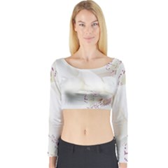 Orchids Flowers White Background Long Sleeve Crop Top