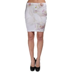 Orchids Flowers White Background Bodycon Skirt