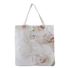 Orchids Flowers White Background Grocery Tote Bag
