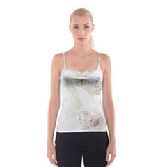 Orchids Flowers White Background Spaghetti Strap Top