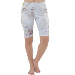 Orchids Flowers White Background Cropped Leggings