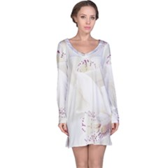 Orchids Flowers White Background Long Sleeve Nightdress