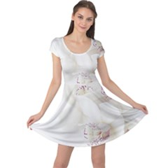 Orchids Flowers White Background Cap Sleeve Dresses