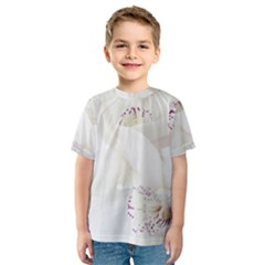 Orchids Flowers White Background Kids  Sport Mesh Tee