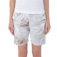 Orchids Flowers White Background Women s Basketball Shorts