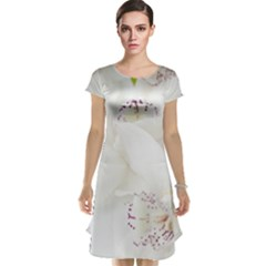 Orchids Flowers White Background Cap Sleeve Nightdress